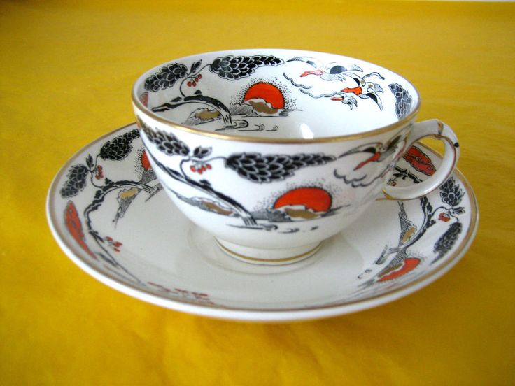 ANTIQUE c.1930 BOOTHS CILICON CHINA CUPS&SAUCERS,HANDPAINTED,crazing on saucers