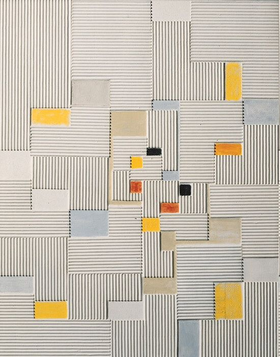 "design-is-fine: "" Adolf Richard Fleischmann, Relief painting #19x, 1960/61. Oil and corrugated board on canvas. Daimler Art Collection. """