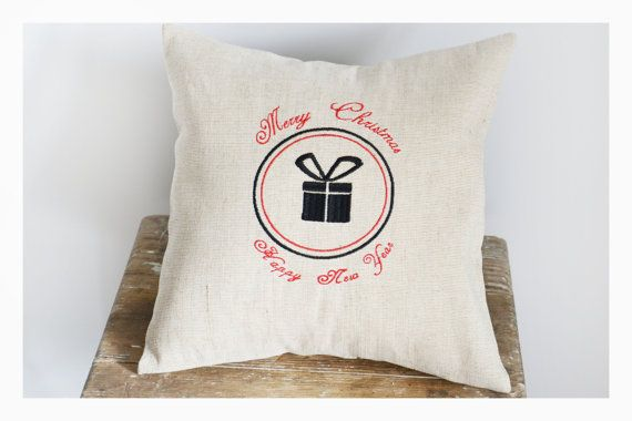 Merry Christmas  Embroidered Christmas pillow cover by KoTshop