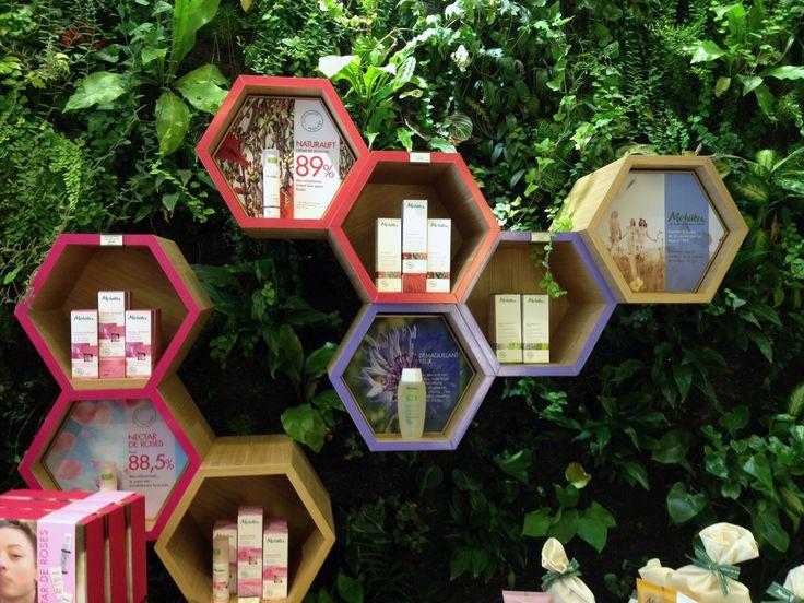 Melvita eco store   Honey comb shelves