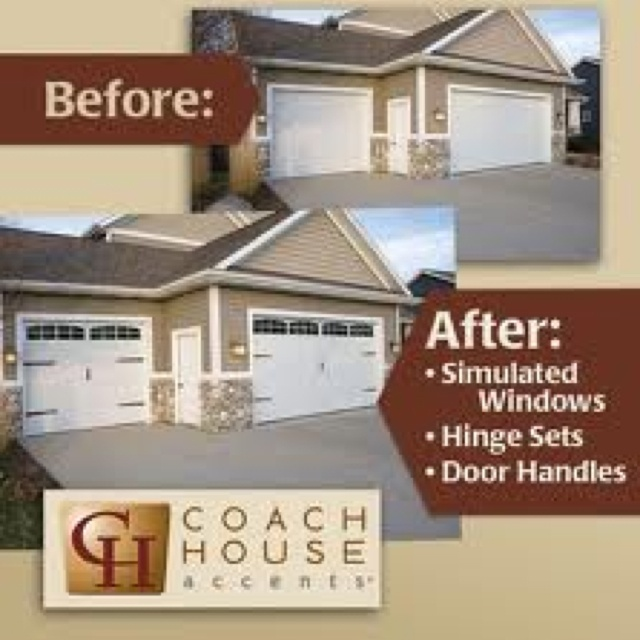 Pin On Garage Makeover: Garage Door Makeover: Hinges, Windows, Handles Added To A