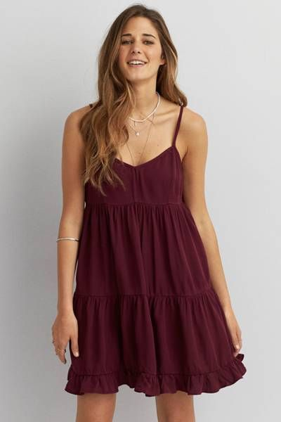 AEO Tiered Babydoll Dress  by AEO | A summer essential with a flowy silhouette and eye-catching details.  Shop the AEO Tiered Babydoll Dress  and check out more at AE.com.