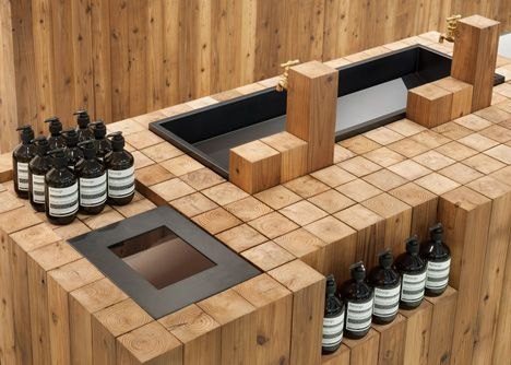 Mostly hollow? Easy to do... Aesop Grand Front Osaka by Torafu Architects