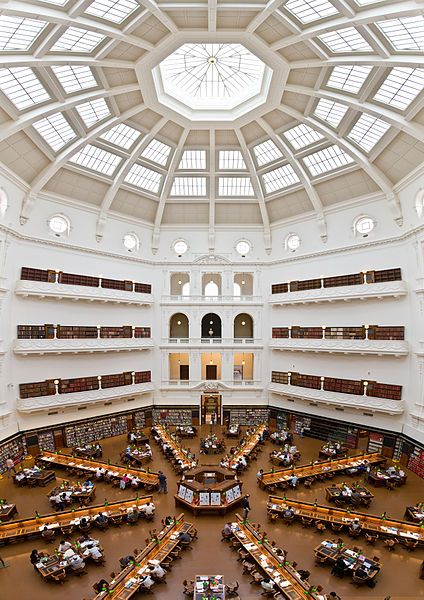 Victorian State Library, Australia  This gorgeous reading room had a dome that was once covered in copper, but now has been renovated to let natural light flood in.  Find out more at Mental Floss.
