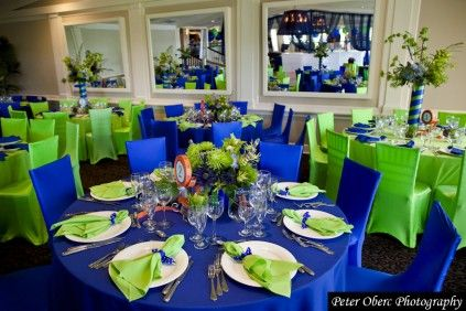 Royal Blue And Lime Green Wedding Reception Decor Centerpieces
