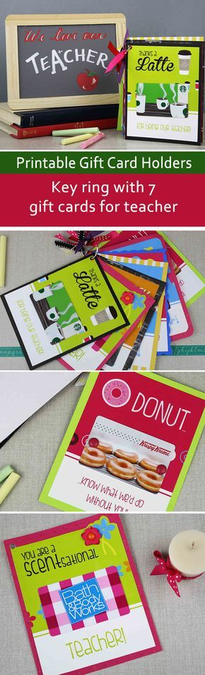 This key ring full of gift cards for teacher is perfect for teacher appreciation, teacher birthday and other times of the year when you just want to say thank you. Make all seven gift card holders yourself or make it a group gift from all the parents.