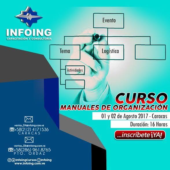 @InfoingCursos #caracas #manuales   CURSO MANUALES DE ORGANIZACIÓN  * 1 y 2 de agosto del 2016 * Caracas, Venezuela * Teléfonos: Caracas: + 58 (212) 417.1536 / Puerto Ordaz: + 58 (286) 961.8765 * Correo: ventas_04@Infoing.com.ve * Twitter: @InfoingCursos  * http://www.Infoing.com.ve  #procedimientos #consultoria #PuertoOrdaz  #InCompany #Presencial #normas #expodato