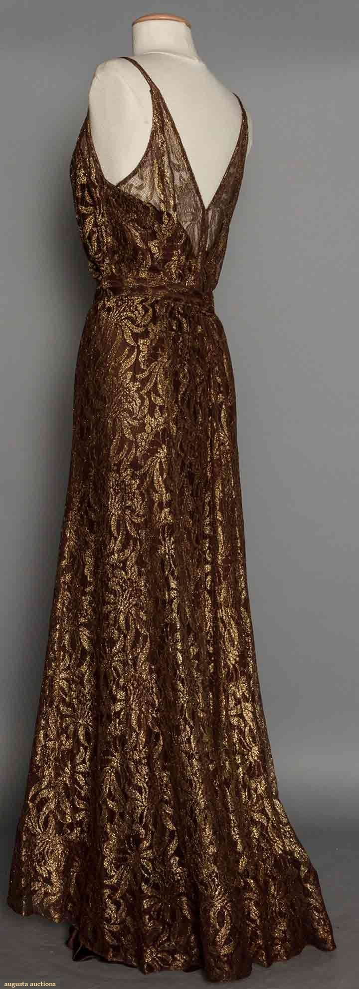 1930's brown & gold lace evening gown (back view)                                                                                                                                                                                 More