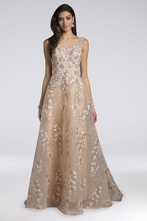 7503ceedb Lara Alana Appliqued Organza Ball Gown Style 29922, Champagne, 8 in ...