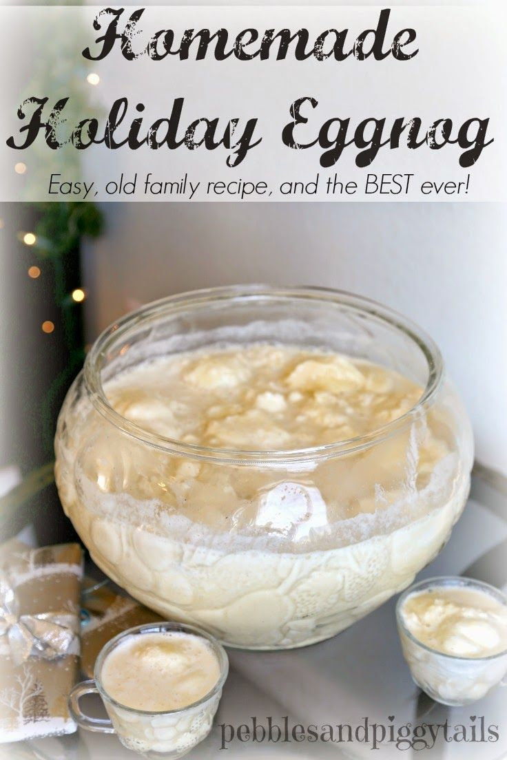 Homemade Holiday Eggnog. This is my husband's family recipe passed down from Grandma who is 100 years old.  IT'S the BEST EGGNOG in the WORLD! It's got ice cream and fresh ingredients. It's easy eggnog too so it's perfect for a Christmas party or a New Year's Eve Celebration. Step by step eggnog tutorial.