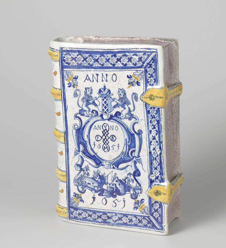 drinkbeker in de vorm van een boek. Veelkleurig beschilderd en met jaartal: ANNO 1651., anoniem, 1651