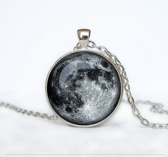 Full Moon Necklace Moon Pendant Space Galaxy Grey Moon Jewelry