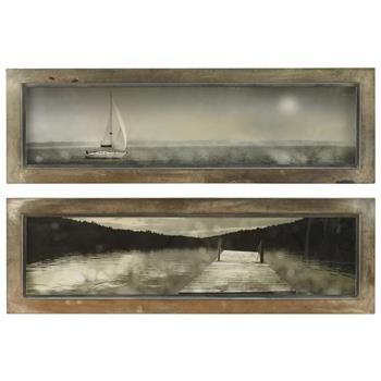 Weathered silver finished frames and the muted tones of the dock and sailboat imagery give this set of coastal prints the feel of twilight light or an early, misty morning. Together, they make a beautiful finishing touch to a seaside cottage or rustic hideaway.
