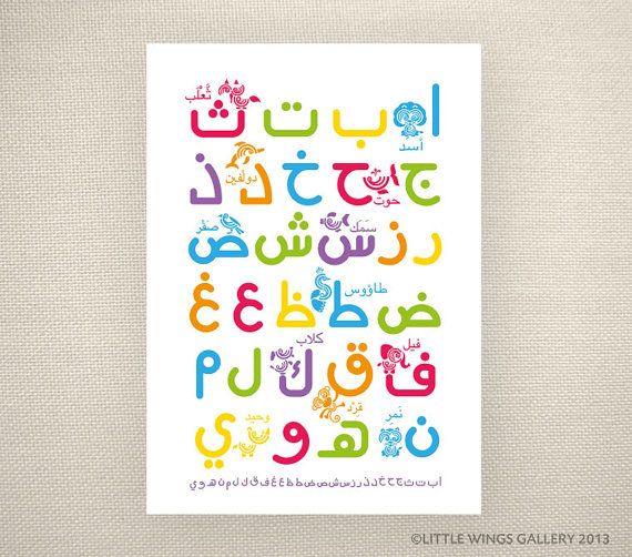 Arabic Alphabet Rainbow Islamic Art Print by LittleWingsGallery