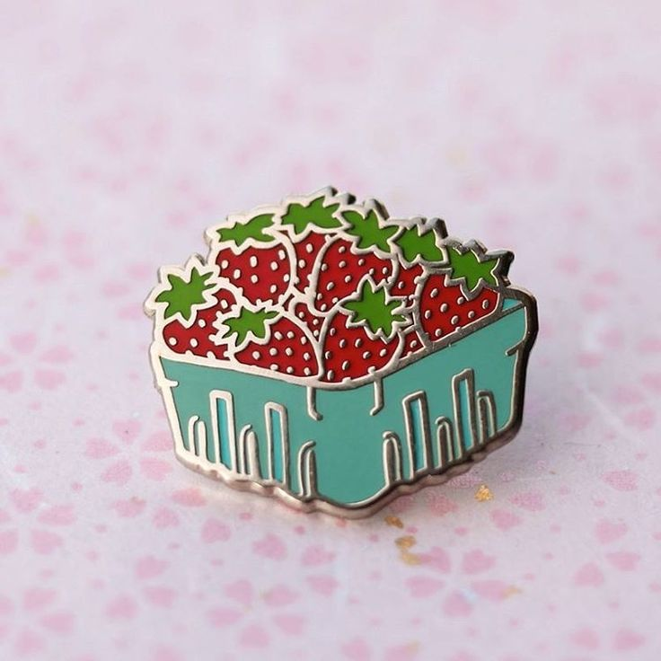 Strawberries enamel pin