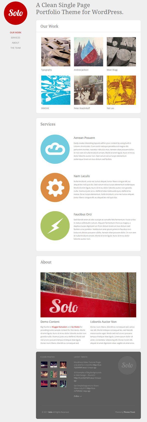Clean single page portfolio premium WordPress theme from Theme Trust