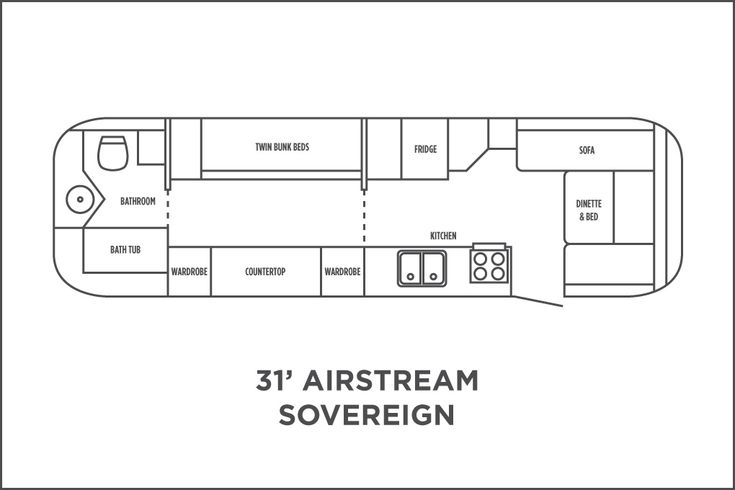 31 Sovereign floor plan Airstream Pinterest Floor plans