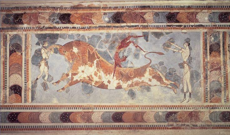 AUTORE: ignoto NOME: Affresco della Taurocatapsia DATAZIONE: ca 1700-1400 a.C. MATERIALE e TECNICA: affresco del palazzo di Cnosso, Creta LUOGO DI CONSERVAZIONE: Museo Archeologico di Heraklion, Creta.
