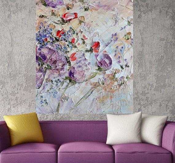 Lila Blumen Öl Gemälde kaufen Print Leinwand von ForestSandandAir