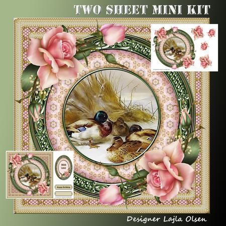 """Mallards and Pink Roses on Craftsuprint designed by Lajla Olsen - Makes a 8""""x 8""""…"""