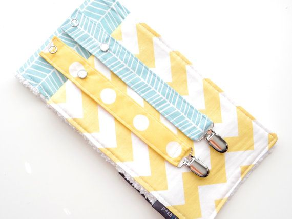 Yellow Chevron Burp Cloth, Teal Burp Cloth, Paci Clips, Pacifier Clips, Burp Cloth, Baby Gift, Baby Girl, Gender Neutral, Baby Accessories