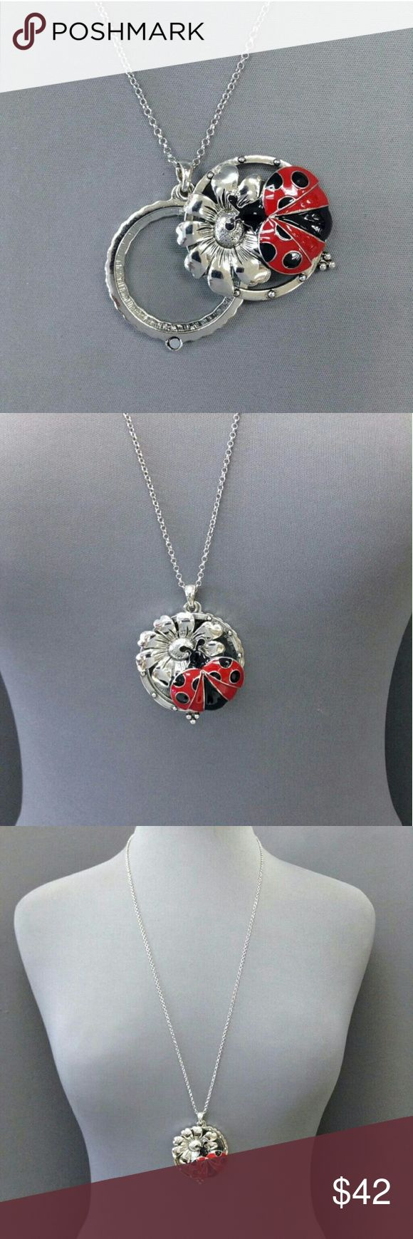 """Long Ladybug Magnifying Glass Necklace Brand new! Never taken out of plastic.  Pendant opens up to a magnifying glass. Chain is 30"""" in length.  Offers welcome! Jewelry Necklaces"""