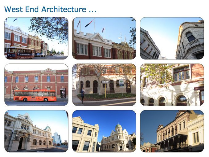 Architecture of Fremantle's Historic West End. Fremantle, Western Australia
