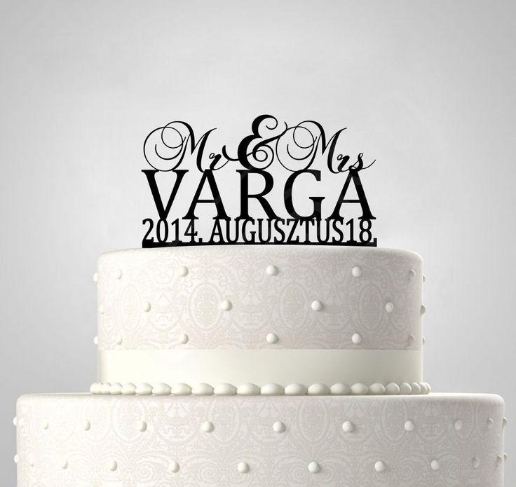 Mr & Mrs, EGYEDI FELIRATTAL esküvői tortadísz