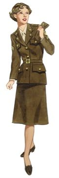 1940s Ladies Workwear Clothes: 1941 WAC uniform.  the WAC uniform was all tan-colored, including the blouse. A tan tie went with the shirt, and a tan cap with a small brim was worn. The jacket had gold buttons as well. #WW2 #1940s