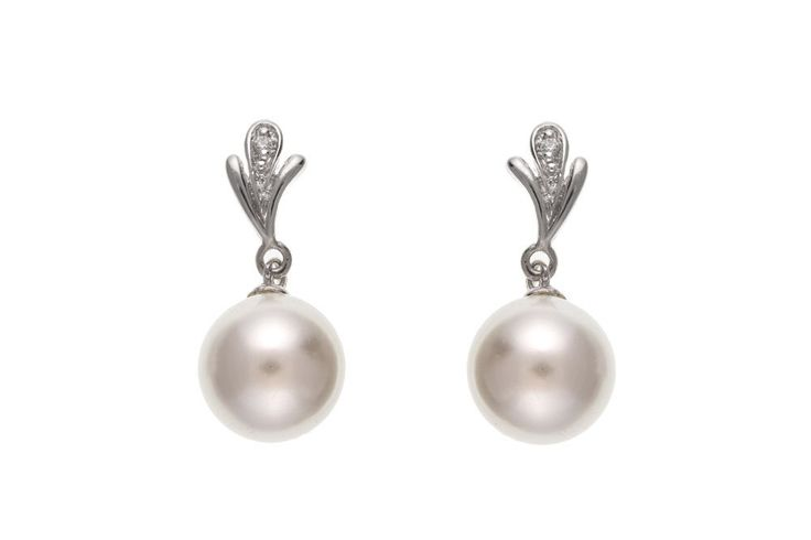 Set with pearl and cubic zirconia. Solid sterling silver. Measure approx. 10 x 23mm. | eBay!