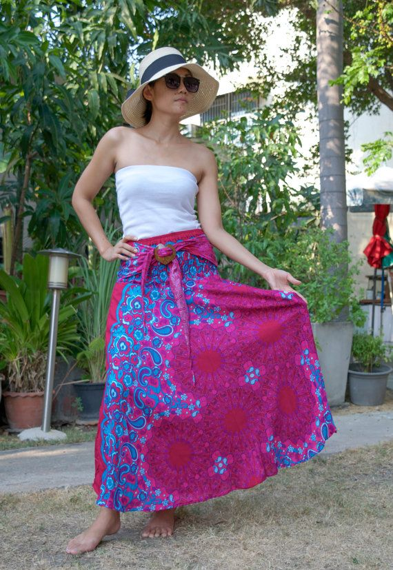 Women's Yoga Mandala Hippy Skirt and Dress in One - Harem Gypsy Skirt Hippie Skirt Bohemian Vintage Skirt Maxi Skirt Boho Summer Beach Cover