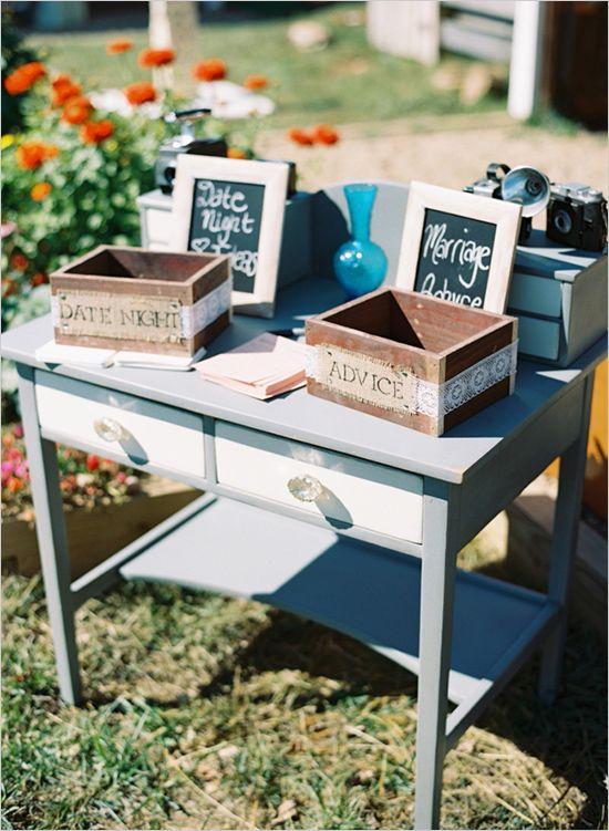 Date night ideas and advice ideas station for the bride and groom. #weddingchicks http://www.weddingchicks.com/2014/06/23/fall-wine-country-wedding/