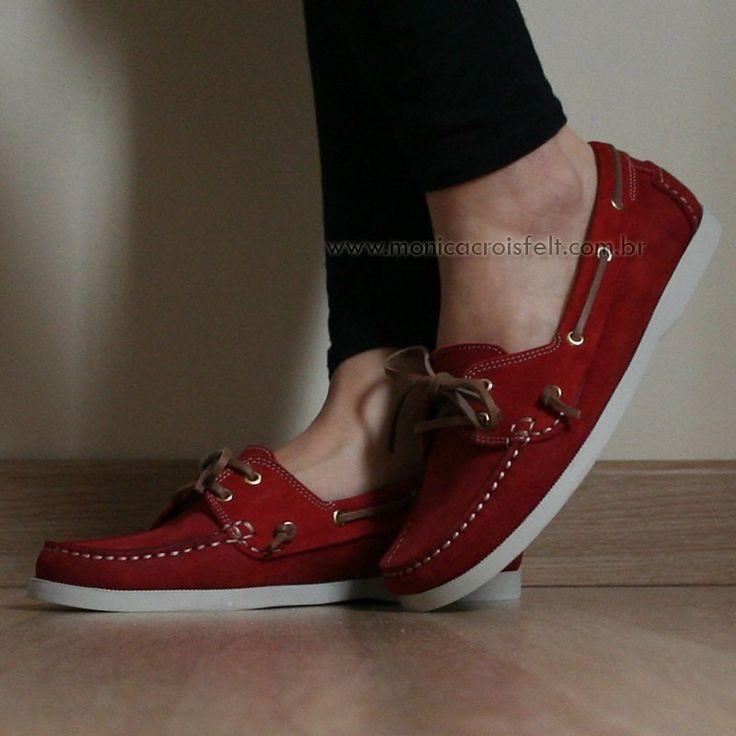 Sapato Mocassim Dockside Feminino Conforto Drive Vermelho Couro Legítimo Alto Luxo #burgundy #moda