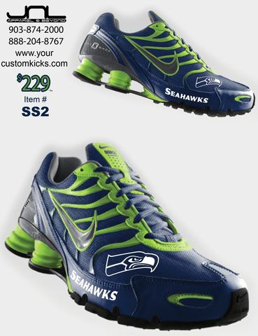 I WANT!!!!!!!!!!!!!!!!!!!!!!!! Custom Seattle Seahawks Nike Turbo Shox Team Shoes – JNL Apparel