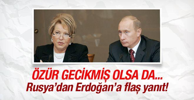 Rus parlamentosunun üst kanadı olan Federasyon Konseyi'nin Başkanı Valentina Matviyenko Erdoğan'ın Rusya'ya gönderdiği mektup hakkında flaş açıklamalar yaptı.