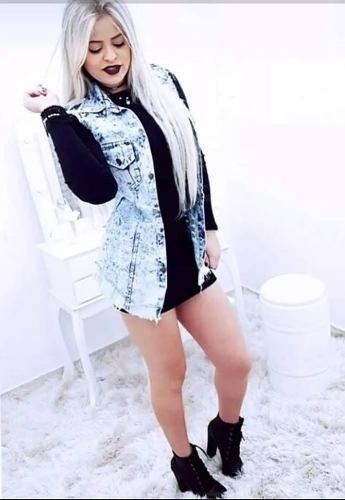 maxi max colete jeans longo comprido feminino moda instagram | Roupas in 2019 | Cute outfits, Overalls, Vest
