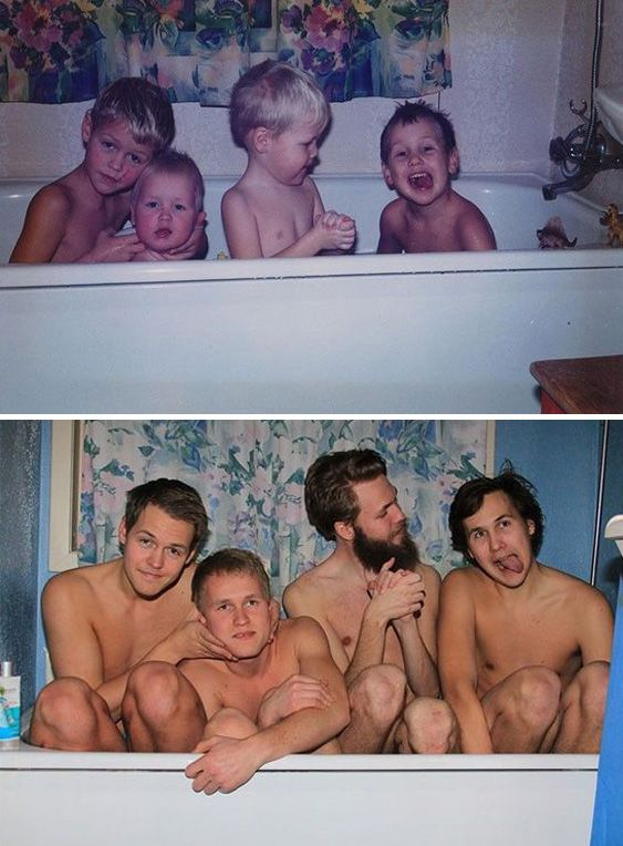 14 Pics of Siblings Who Hilariously Recreated Their Childhood Photos