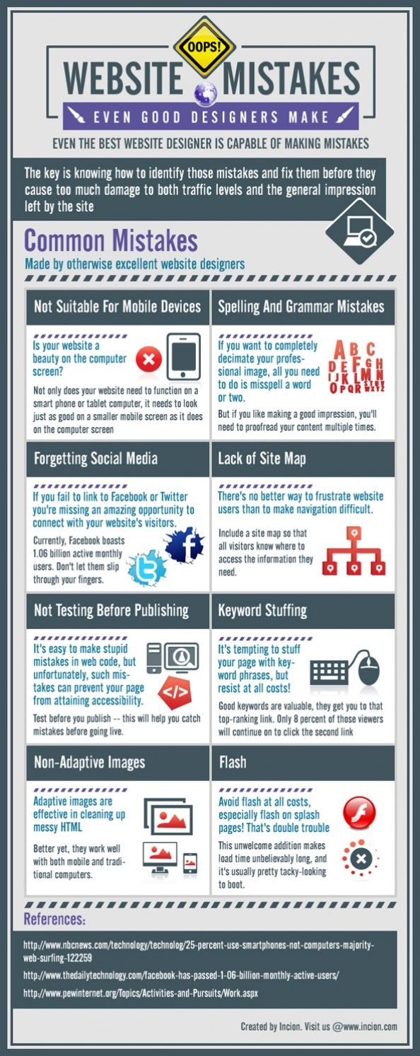 Website Mistakes Done Even by Good Web Designers Infographic