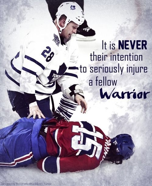 """""""You can see the fear in Colton Orr's eyes when he sees George Parros motionless.The compassion from a Hockey player is not a rare occasion, because they know that it was never their intention to seriously injure a fellow warrior.This is Hockey. And we will never be what we seem to people who don't understand the game."""""""