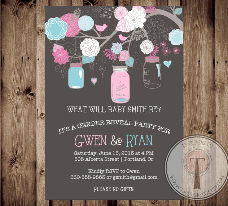 Hanging Jars Gender Reveal Party Invitation Jars by T3DesignsCo, $12.99