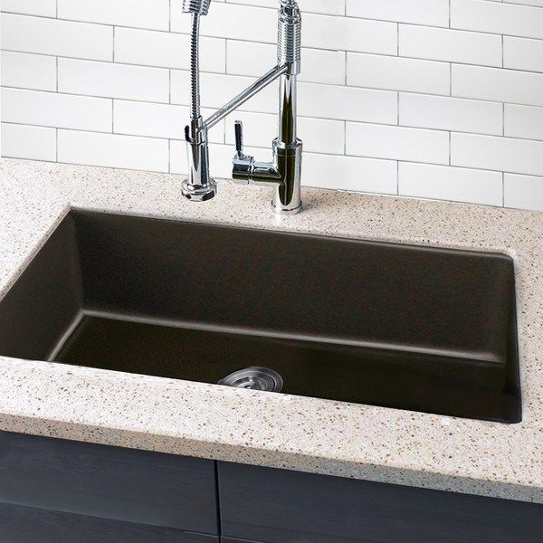 Granite Composite Farmhouse Sink Elegant Highpoint Collection Granite Posite 33 Inch Single Bowl Undermount Kitchen Sink In Brown Of Granite Composite Farmhouse Farmhouse Sink Sink Undermount Kitchen Sinks