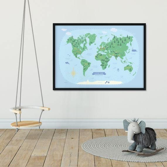 Best World Map Illustrated Poster Images On Pinterest Kid - World map for playroom