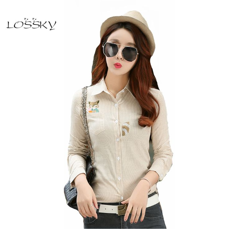 LOSSKY 2017 New Fashion Women Blouses Long Sleeve Turn-down Collar Femal Casual Cotton Striped Shirt Style Blusas Femininas