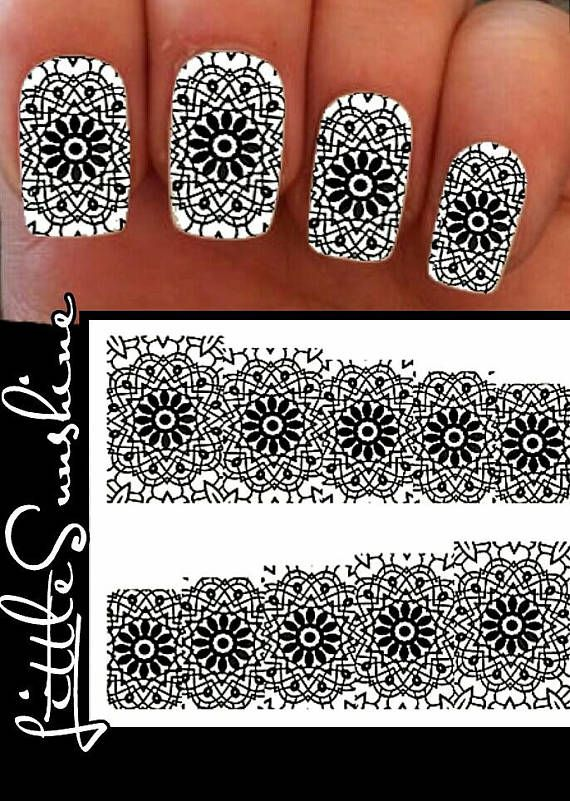 Lace Print Waterslides Nails Decals Water Transfer Nail