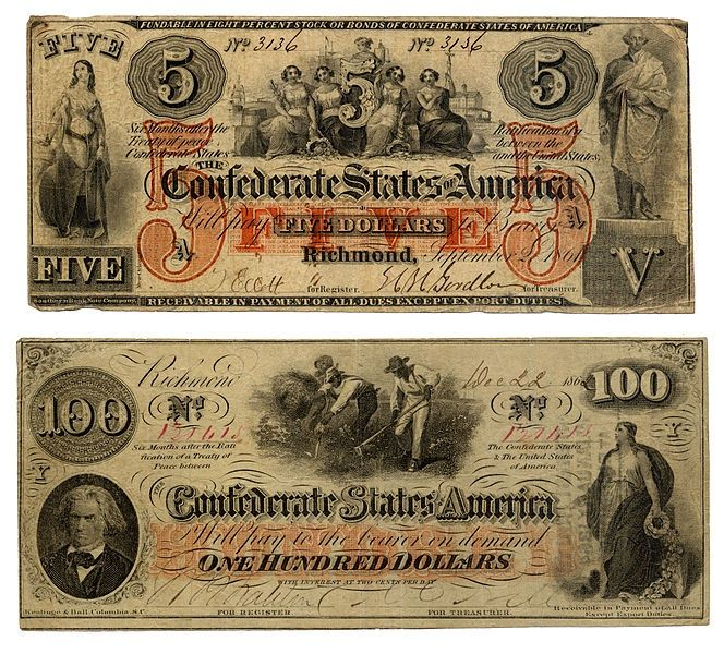 A five and one hundred dollar Confederate States of America interest bearing banknote. These notes were authorized by the Confederate Congress during the Civil War (1861–1865).