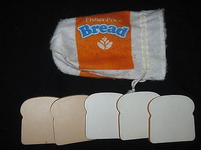 Pretend Play Kitchen Food Fisher Price Fun With Food Bread bag & Bread Toy lot