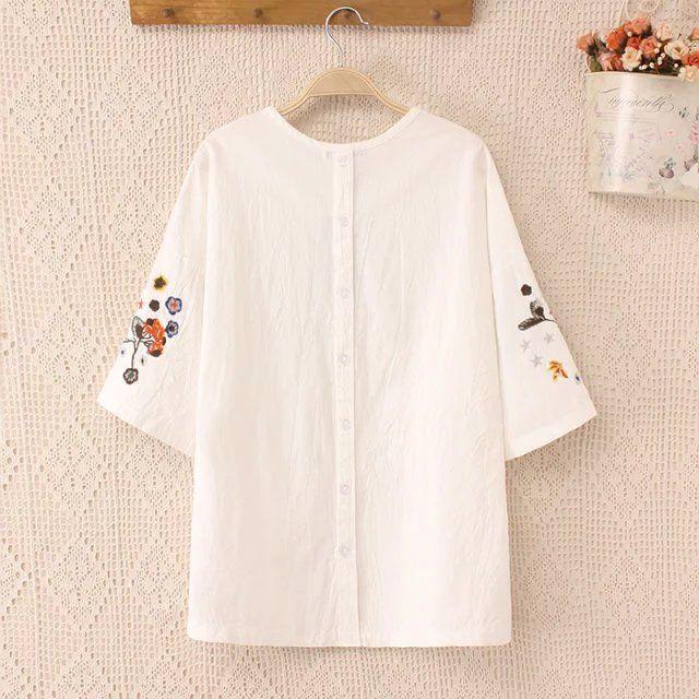 3XLwomen summer T-shirts2016 flower  printed cotton plus size T-shirt  european casual vintage white big t-shirts