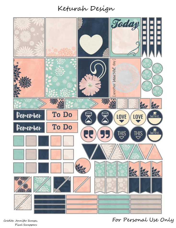 FREE Blush Planner Stickers by Keturah Design