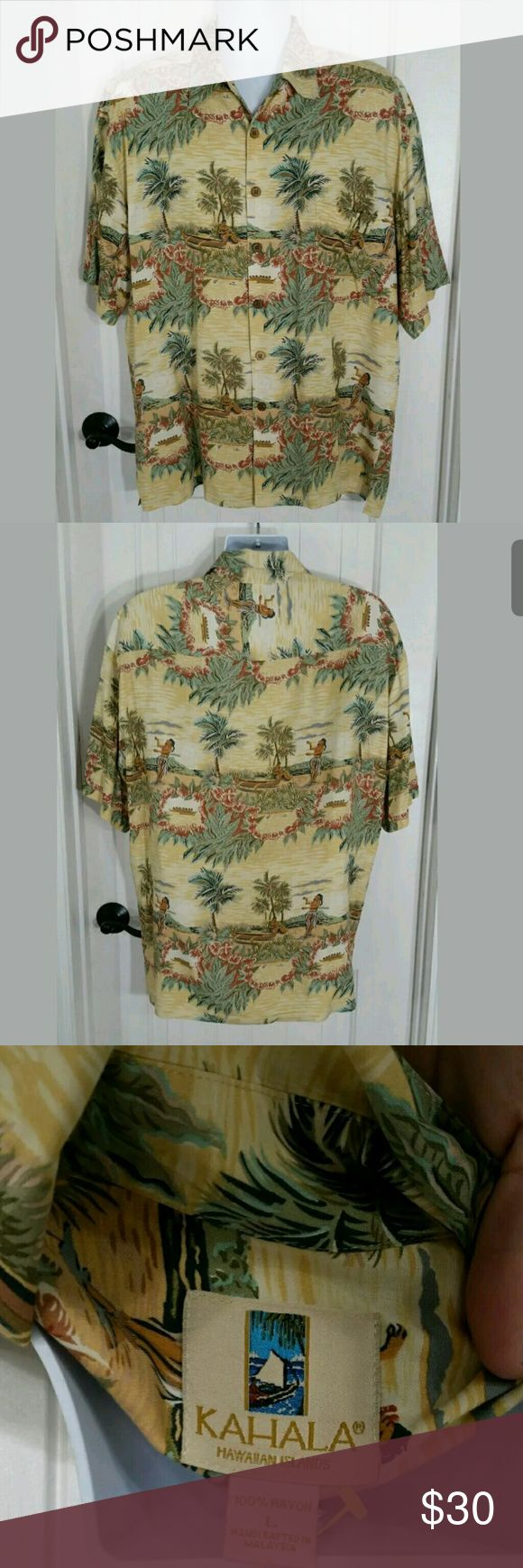 """Kahala Mens Rayon Button Up Hawaiian Shirt LARGE Kahala Mens Hawaiian Shirt Short Sleeve Button Up Rayon Casual Camp Lounge. Excellent preowned like new condition. Comes with extra button  Type: Shirt Style: Button Front Hawaiian with front pocket and extra button Brand: Kahala Size: Large ( Runs a little bit larger ) Material: 100% Rayon Color: Yellow Multicolor Measurements: Sleeve - 11"""" / Chest - 54""""  / Length - 33""""  Condition: Excellent preowned condition - No holes, no stains, no…"""