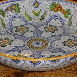 Sbigoli Terrecotte - large thin bowl cm 40 with grapes and flowers